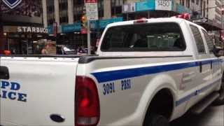 NYPD SECURITY IN TIMES SQUARE POST BOSTON ATTACK. NYPD POLICE COMMUNICATIONS DIVISION COMMAND POST.
