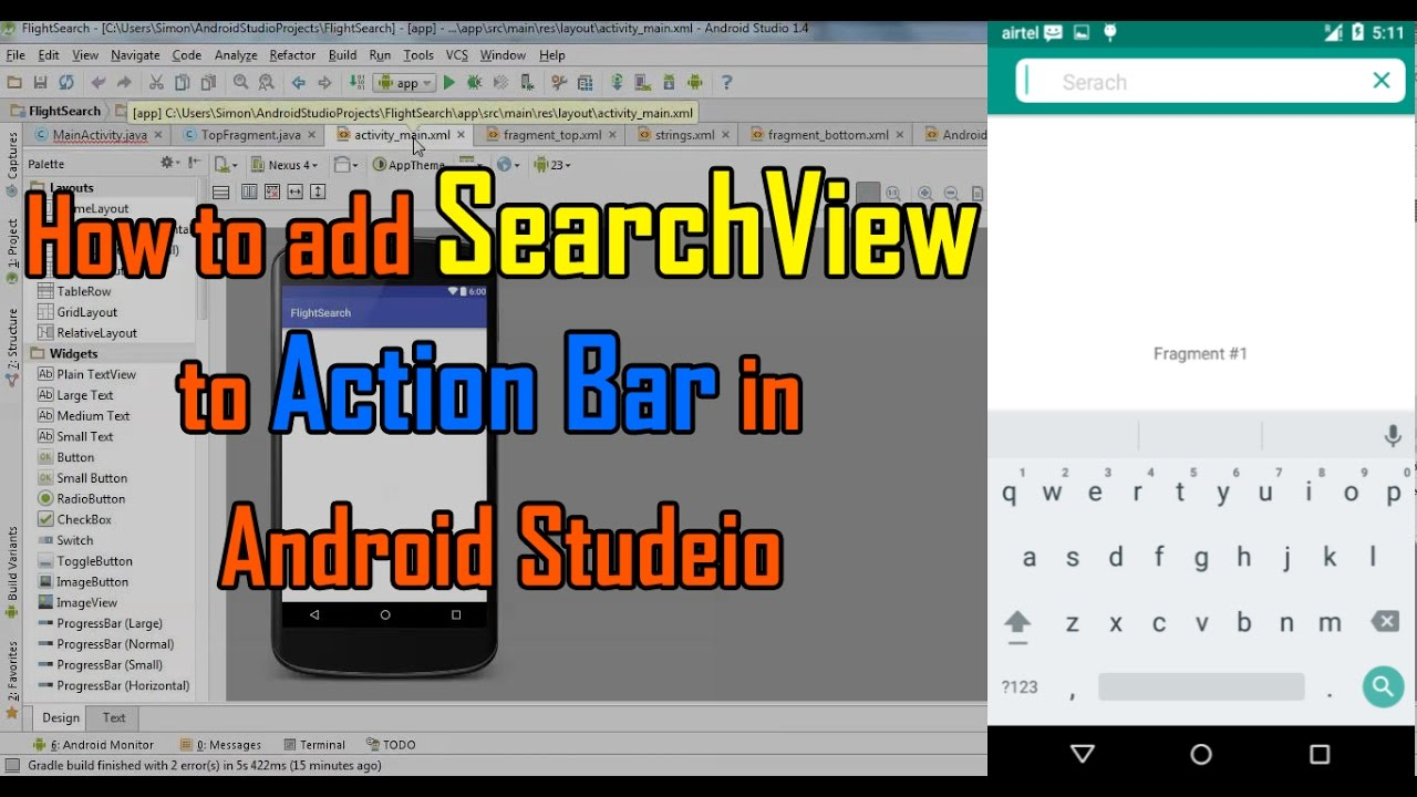 Android Studio Tutorial - How to add items to Action Bar in Android Studio  2017