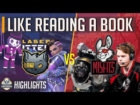Misfits vs Laser Kittenz - Like Reading A Book - Overwatch Contenders Group Stage Highlights