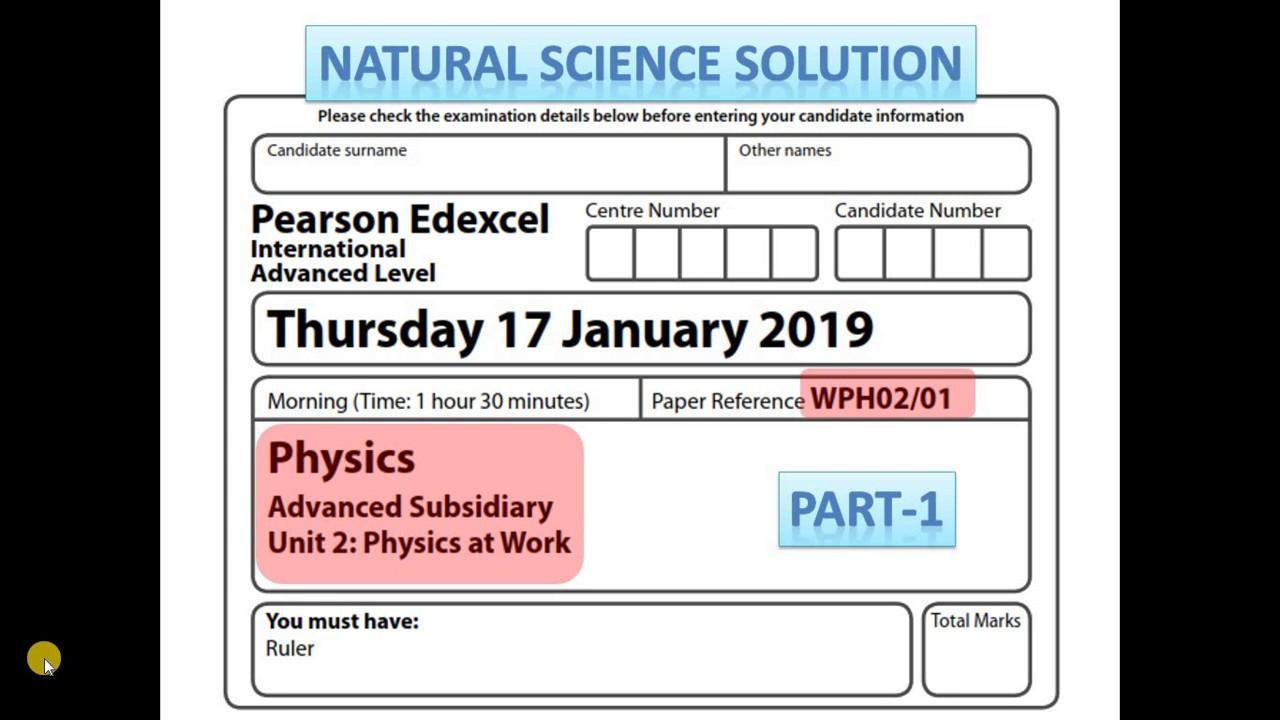 Edexcel IAL physics unit 2 Jan 19 Part 1