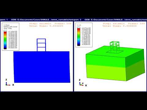 Earthquake motion of concrete structure simulated in Abaqus