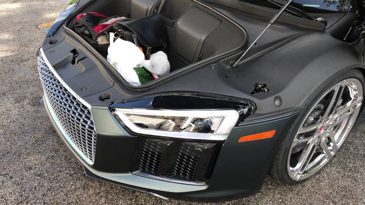 how much does the vossen 2017 audi r8 v 10 plus hold in its front trunk 4k youtube. Black Bedroom Furniture Sets. Home Design Ideas