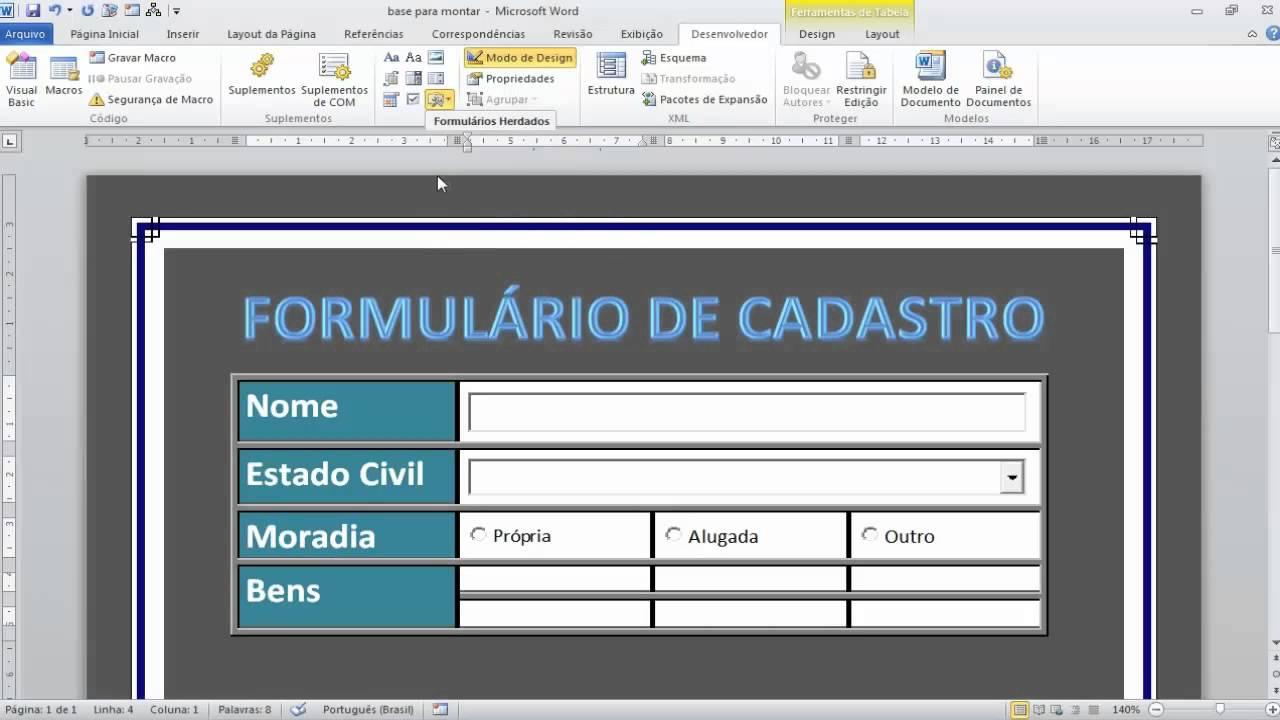 Word 2010 - Formulários com controles ActiveX - YouTube