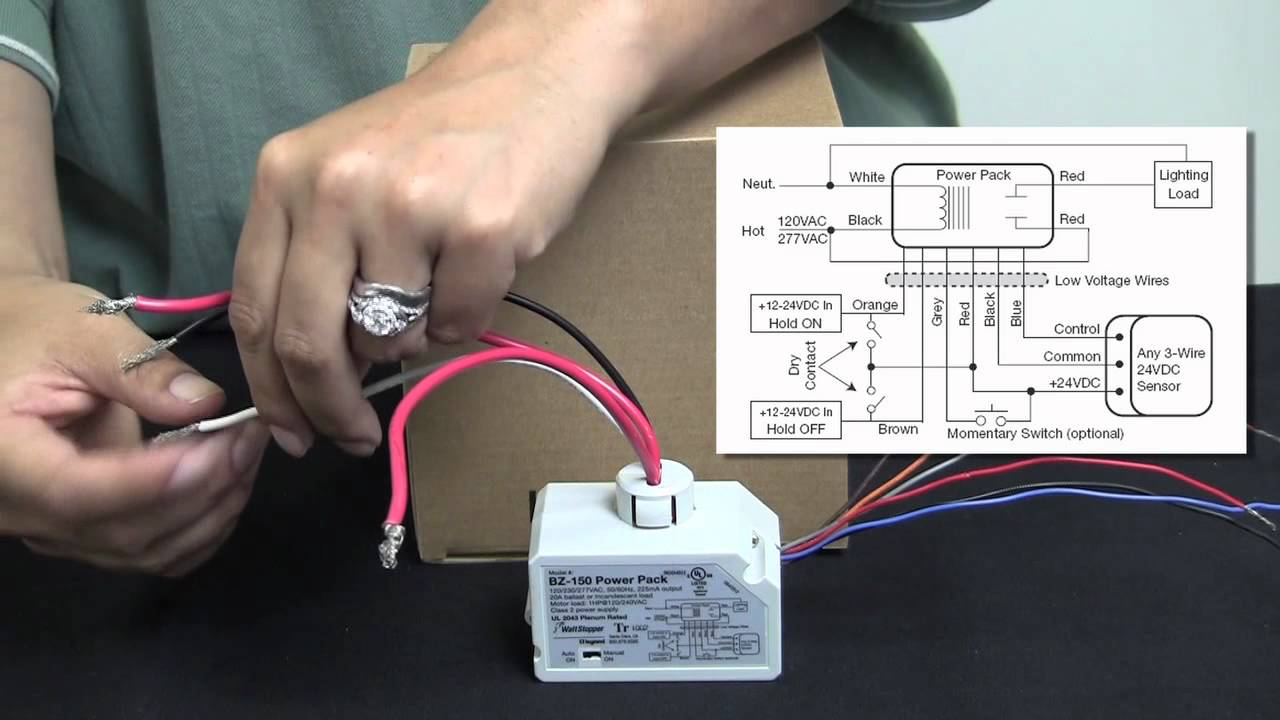 maxresdefault wattstopper how to wiring a bz 150 universal voltage power pack wattstopper occupancy sensor wiring diagram at aneh.co