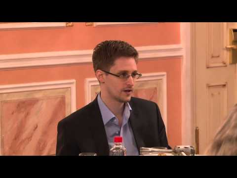 Edward Snowden speaks about government transparency at Sam Adams award presentation in Moscow