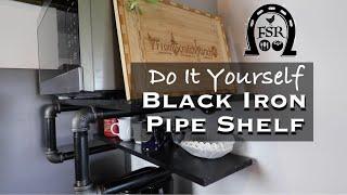 DIY Black Iron Pipe Shelf for Microwave