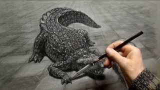 How to Draw a Crocodile 3D  //  Как нарисовать крокодила в 2,8D(drawing '' PENCIL SHARPENER '' // рисунок Игоря Майкова