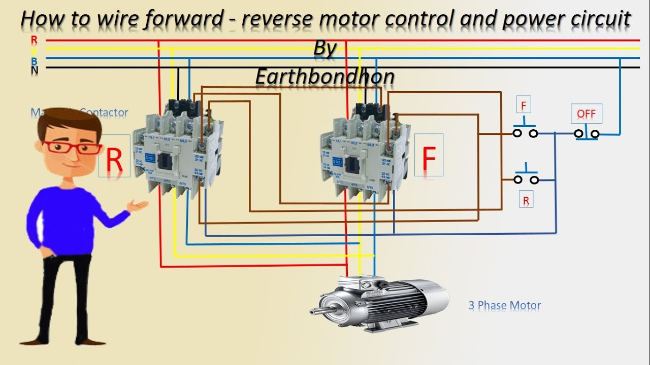 How to wire forward reverse motor control | 3 Phase motor | Earthbondhon  YouTube