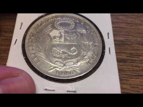 Peru Un Sol 1934 (Large Silver Coin of the Week Jun 13 2017)