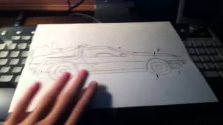 Delorean from back to the future sketch, pencil/ballpoint pen