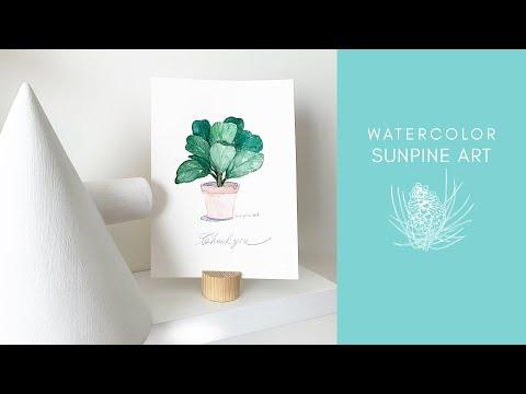 [Vẽ Màu Nước] Hướng Dẫn Vẽ Chậu Cây Đơn Giản   WATERCOLOR FOR BEGINNERS