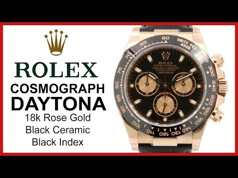 ▶ Rolex Cosmograph Daytona, 18k Rose Gold, Ceramic Bezel, REVIEW Black Index, Chronograph - 116515LN