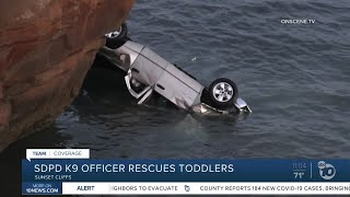 Officer saves family after dad plunges truck over cliff into ocean