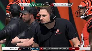 Madden 20 / Cincinnati Bengals / Fantasy Draft Franchise / Season 1 / Week 13 / CIN vs NYJ / PS4