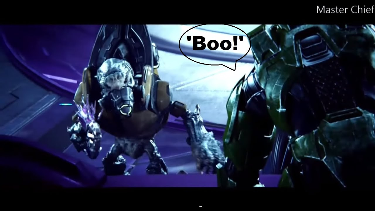 Master Chief Says Boo And Scares Grunt