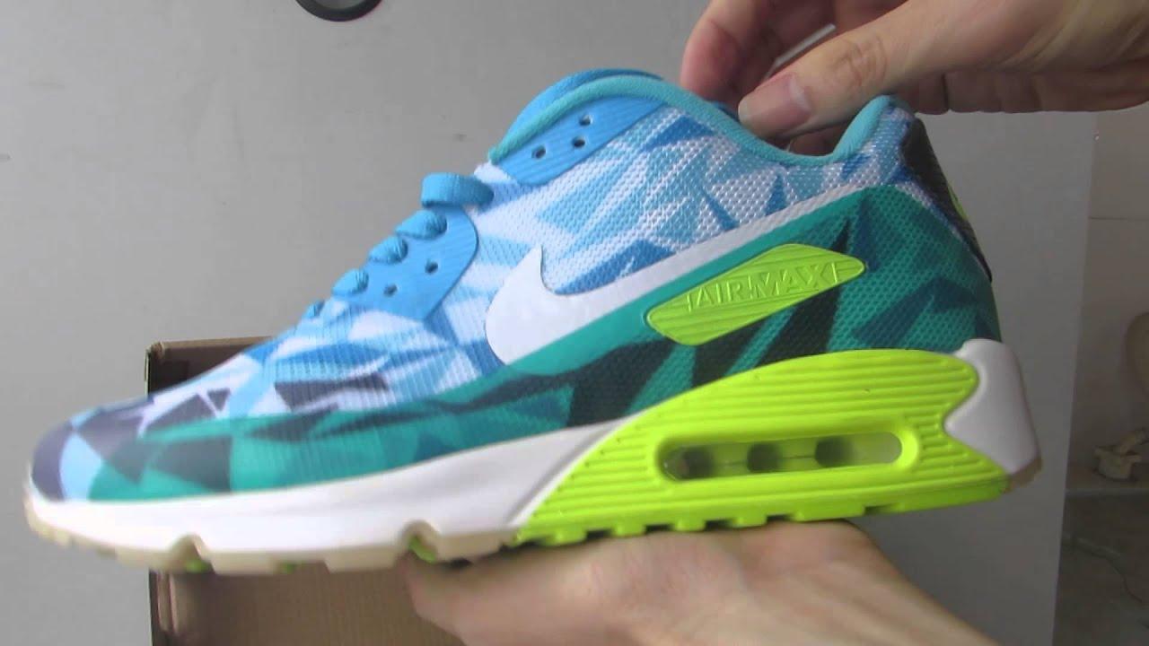 bb9b88bcbf8 Nike Air Max 90 Ice Blue Green Yellow - YouTube