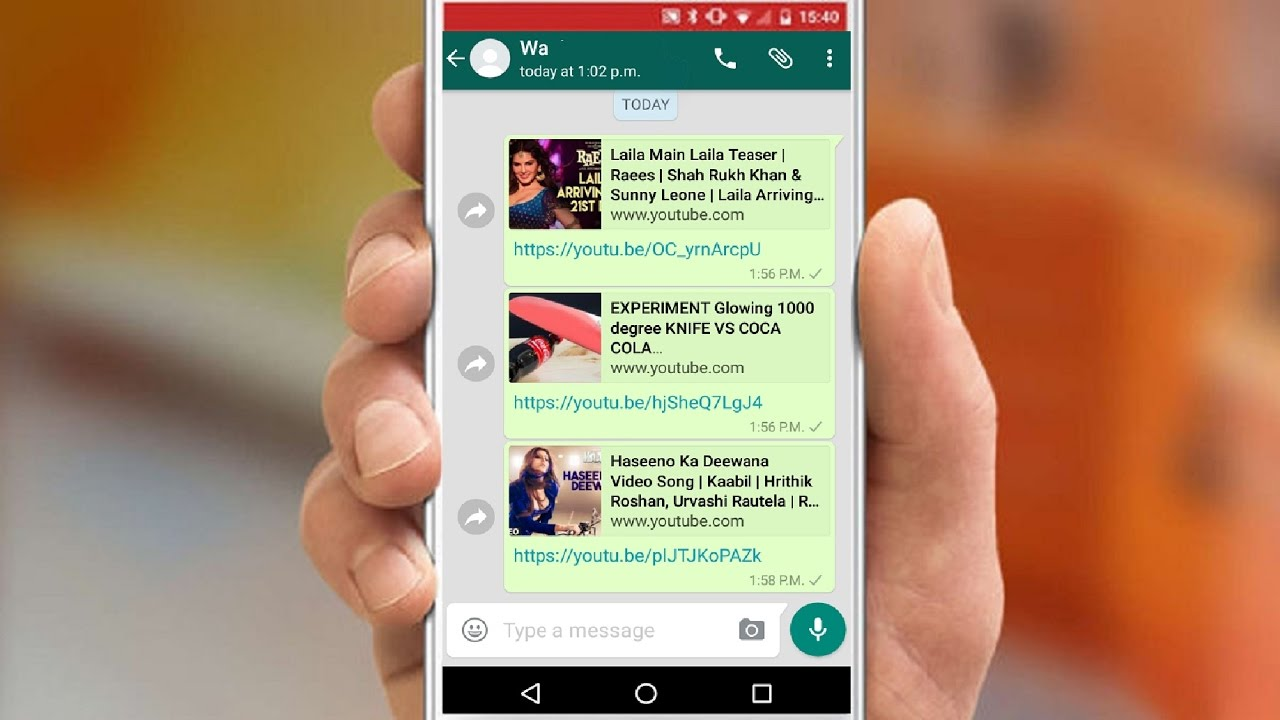 Image result for youtube on whatsapp