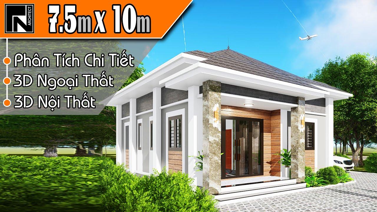 Mẫu nhà cấp 4 mái thái đẹp nông thôn 2020, 2 phòng ngủ 7.5x10m | TNA102 |Kiến trúc TN