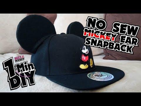 No Sew Mickey Ear Snapback Hat! 7 Min Diy