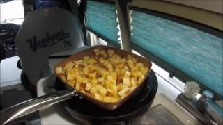 rv cooking quick pan fried steak potatoes copper chef pan