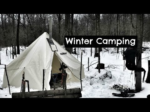 Winter Camping in new Hot Tent (Husband & Wife Test):  Vlog 62