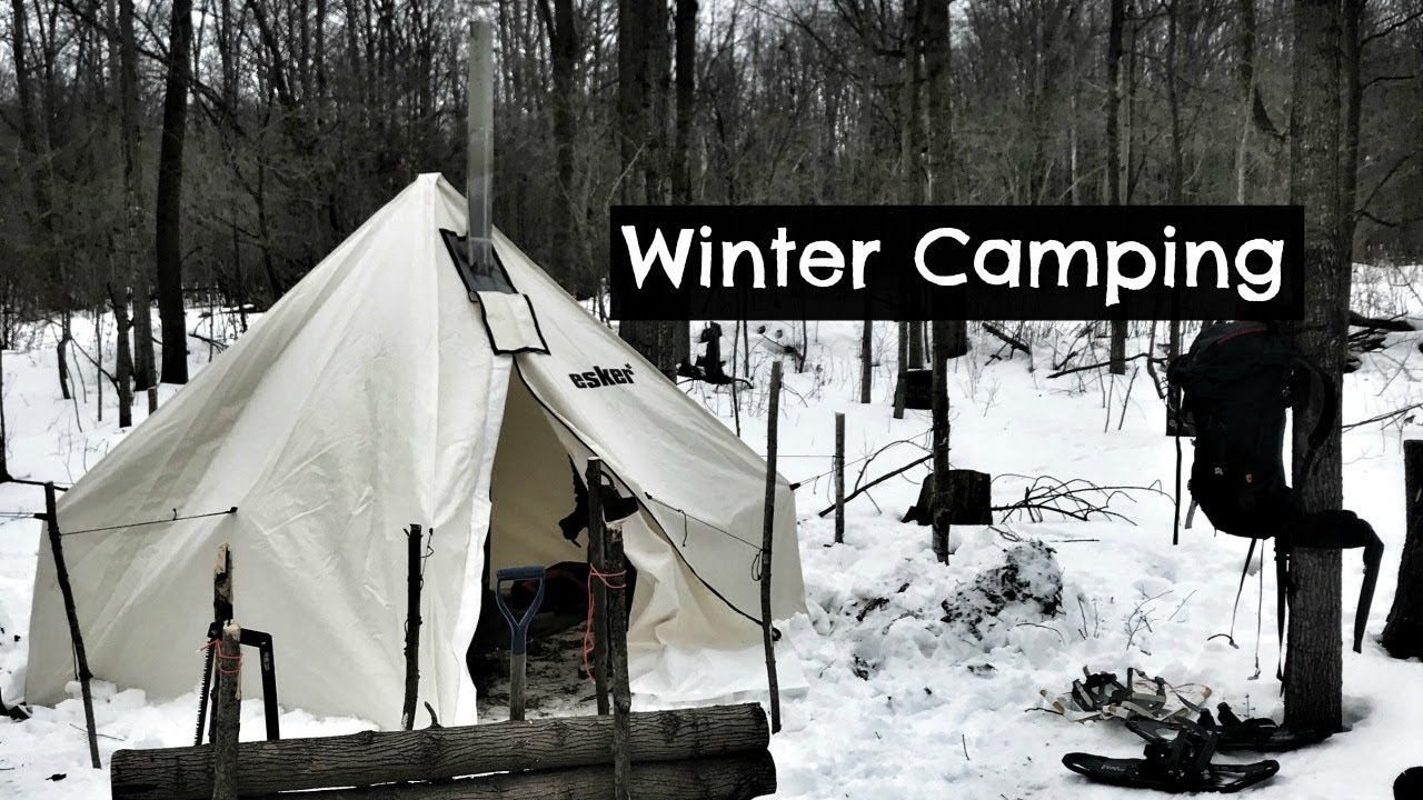 Winter Camping in new Hot Tent (Husband & Wife Test): Vlog ...