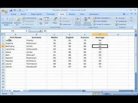 excel 2007 sorting data in single columns and whole tables youtube. Black Bedroom Furniture Sets. Home Design Ideas