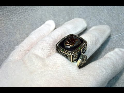 Большой мужской серебряный перстень с инициалами\печатка с эмалью