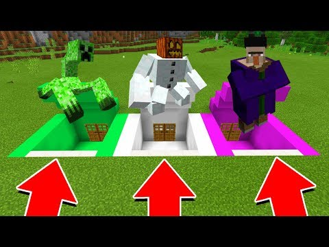 Minecraft PE - DO NOT CHOOSE THE WRONG SECRET BASE! (Mutant Creeper, Snow Golem & Mutant Witch)