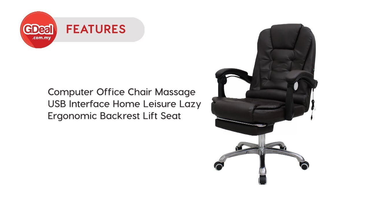 Features Computer Office Chair Massage Usb Interface Home Leisure Ergonomic Lift Seat Youtube