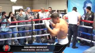 Gennady Golovkin shows textbook technique while shadow boxing ahead of Daniel Jacobs fight