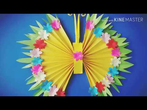 How to Make DIY  PAPER BUTTERFLY WALL HANGING/ wall decoration ideas/  make wall paper ornament