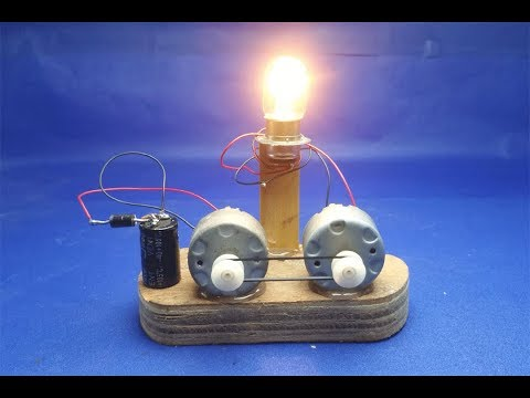 free energy running motor with light 12V -  Experiment DIY science projects at home 2018