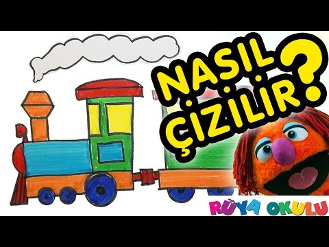 Nasil Cizilir Tren Lokomotif Vagon Cocuklar Icin Resim