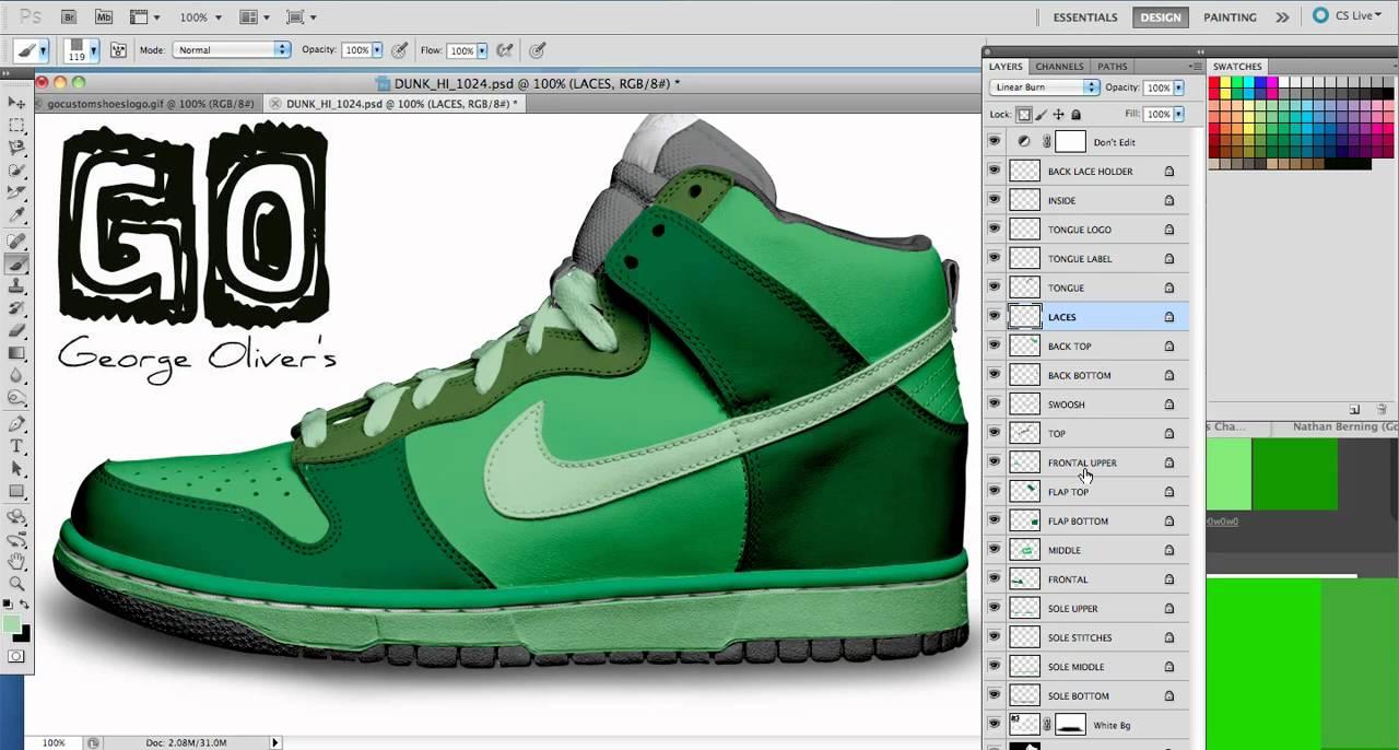 Tutorial How To Make Custom Shoes NIke Dunk High Tops Using