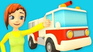 Feuerwehrautos löschen das Haus ab.  Marias Autoschule. Cartoons für Kinder.