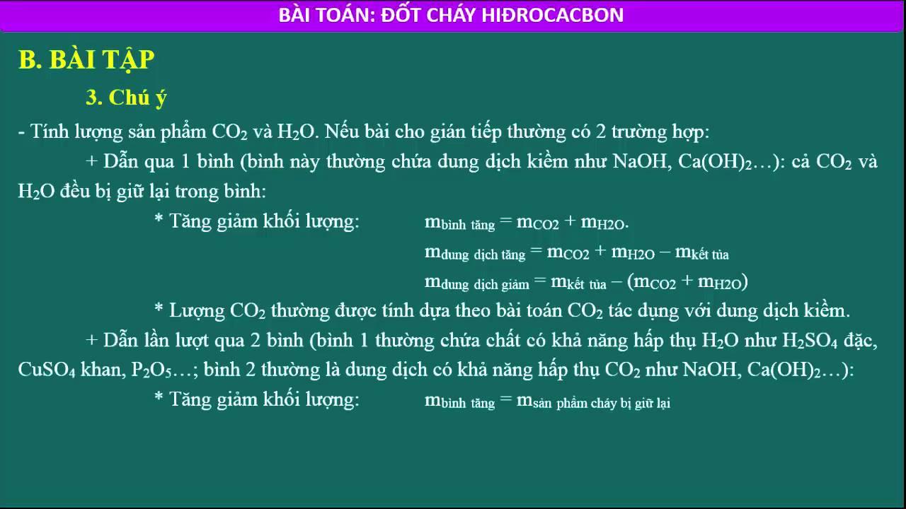 Phương pháp giải bài toán đốt cháy hidrocacbon