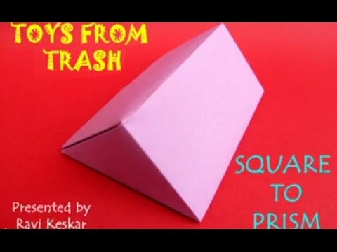 SQUARE TO PRISM - MARATHI - Fold a paper square into a Prism.