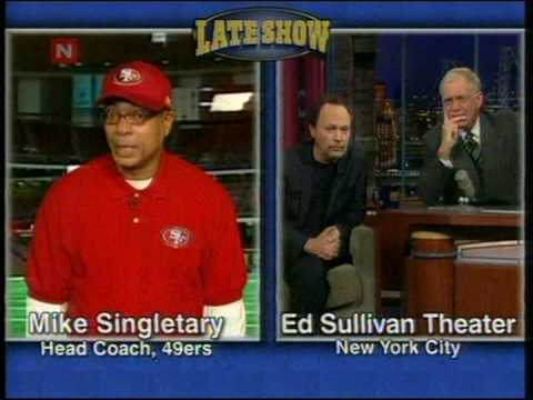 Mike Singletary in a intervju with David Letterman  and Billy Crystal