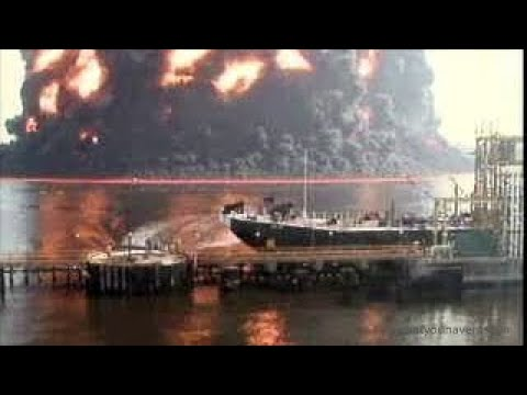 Tremendous Gas Barge Explosion In New York City, 2003 - Complete Footage At 4X Playback Sp