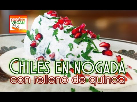 Chiles en nogada con relleno de quinoa - Cocina Vegan Fácil