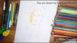 Superman drawing by Shantanu Khare using watercolor