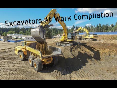 Excavators At Work Loading Trucks And Earth Work Excavation (Komatsu, Deere, Hitachi, Kenworth)