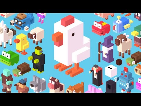 Trying to beat my high score in Crossy Road