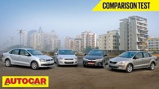 New Honda City Vs Hyundai Verna Vs Skoda Rapid Vs VW Vento | Comparison Test | Autocar India