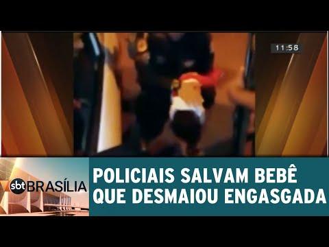 Policiais salvam bebê que desmaiou engasgada   SBT Brasília 21/08/2018