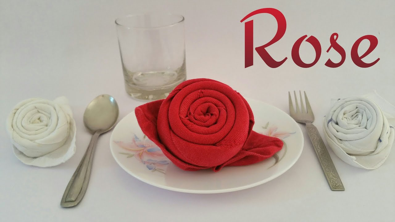 How To Make A Rose Using Table Napkin & Handkerchief For Valentine's Day  Tutorial From Paper