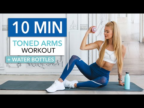 10 MIN TONED ARMS - Quick & Intense At Home / With Water Bottles I Pamela Reif