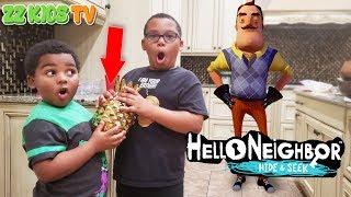 Hello Neighbor Hide & Seek in Real Life! (Finding the Golden Pineapple)