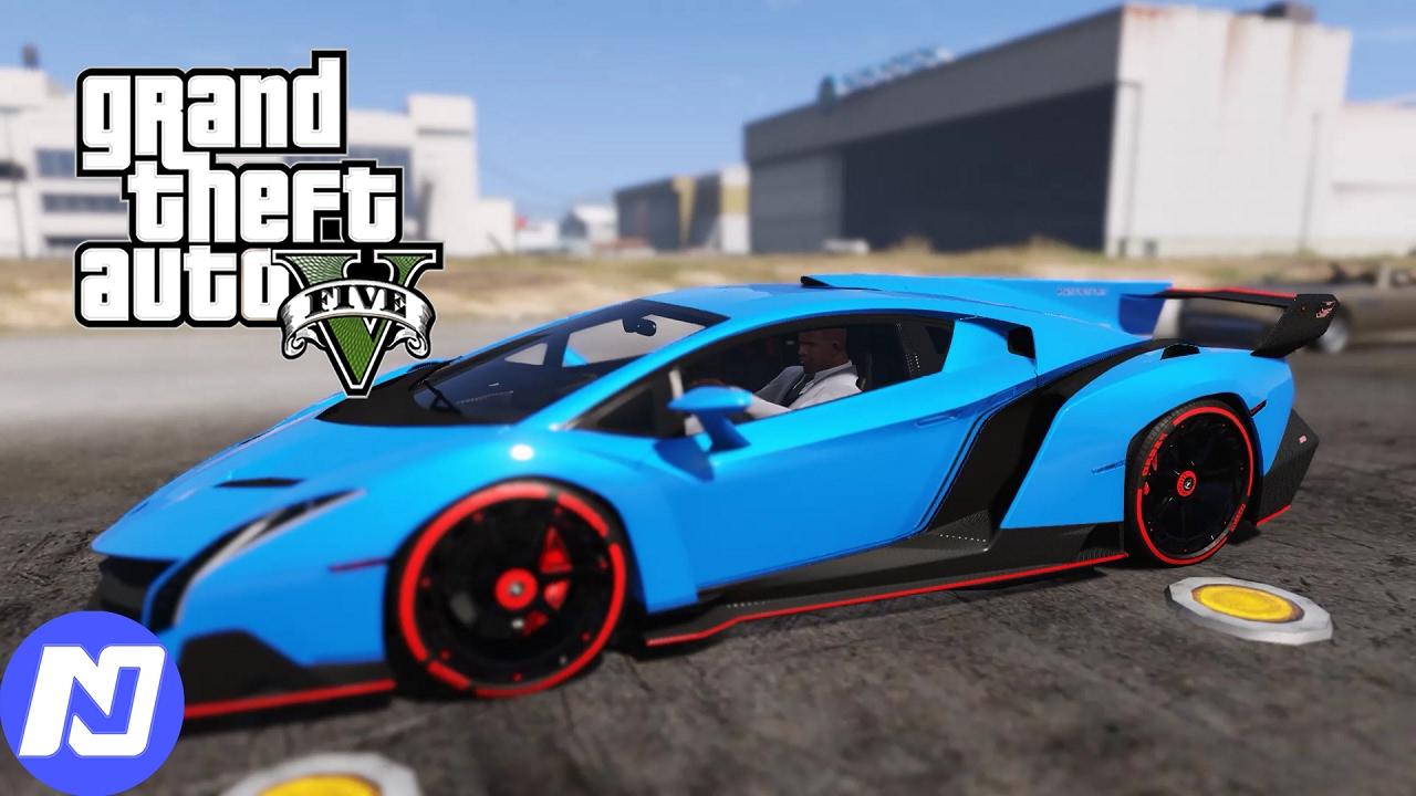 GTA 5 – Công việc mới đi ăn cắp siêu xe và lấy xe Lamborghini Veneno đua xe ở sân bay | ND Gaming